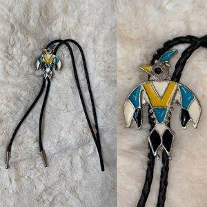 Native American Bird Symbol Bolo Tie